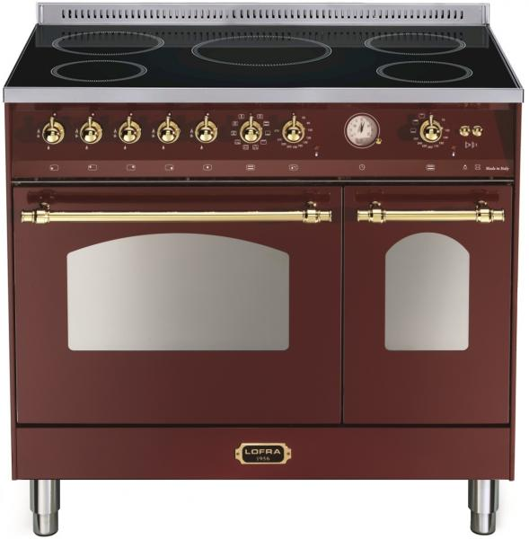 LOFRA - DOLCEVITA - DOUBLE OVEN 90 cm - INDUKTION - RRD 96 MFTE/ 5I - Burgundy - Messing Finish