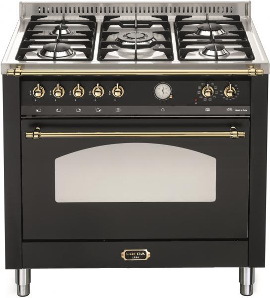 LOFRA - DOLCEVITA - SINGLE OVEN 90 cm - RNMG 96 MFT/ CI - Black - Messing Finish