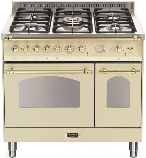 LOFRA - DOLCEVITA - DOUBLE OVEN 90 cm - RBID 96 MFTE/ CI - IVORY - Messing Finish
