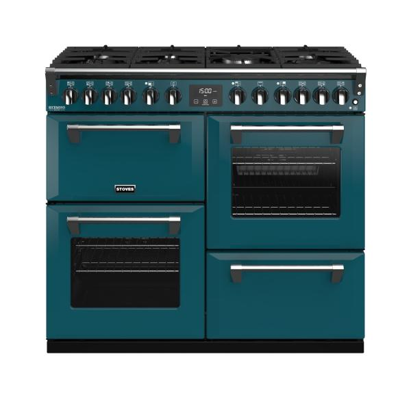 STOVES RICHMOND Deluxe S1000 DF Gas Kingfisher Teal/Chrom