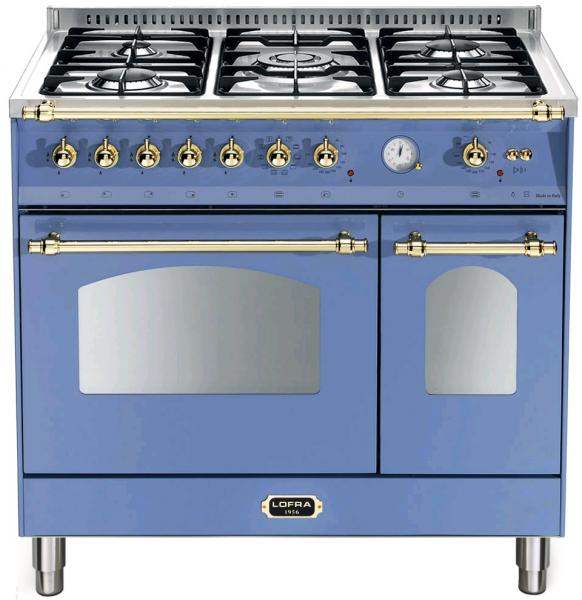 LOFRA - DOLCEVITA - DOUBLE OVEN 90 cm - RLVD 96 MFTE/ CI - LAVANDEL BLUE - Messing Finish