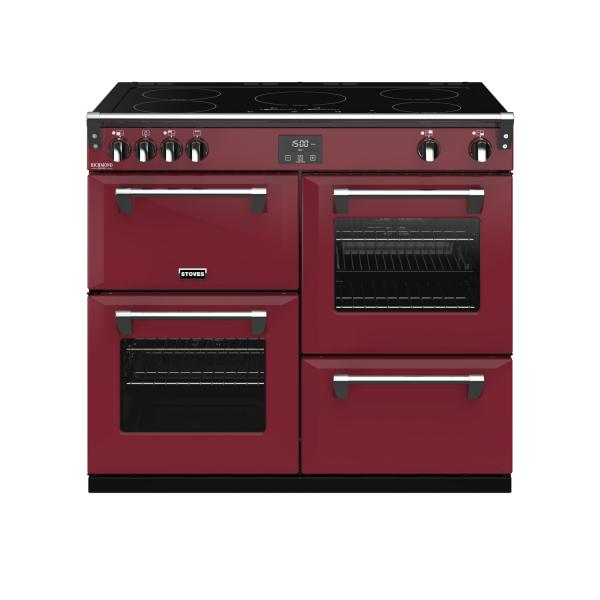 STOVES RICHMOND Deluxe S1000 Ei Induktion Chili Red/Chrom