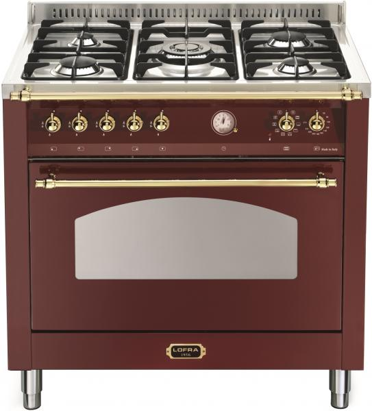 LOFRA - DOLCEVITA - SINGLE OVEN 90 cm - RRG 96 MFT/ CI - Burgundy - Messing Finish