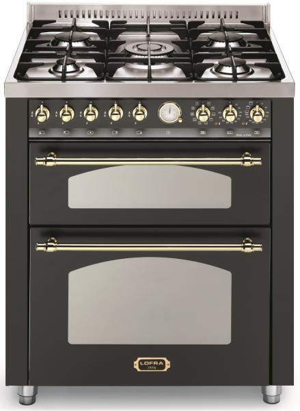 LOFRA - DOLCEVITA - DOUBLE OVEN 70 cm - RNMUD 76 MFTE / Ci - Black - Messing Finish