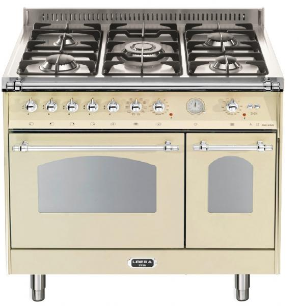 LOFRA - DOLCEVITA - DOUBLE OVEN 90 cm - RBID 96 MFTE/CI - IVORY - Chrome Finish