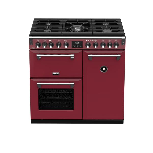 STOVES RICHMOND Deluxe S900 DF GAS CB Chili Red/Chrom