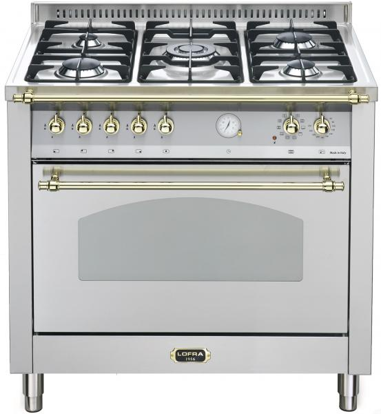LOFRA - DOLCEVITA - SINGLE OVEN 90 cm - RSG 96 MFT / CI - Stainless - Messing Finish