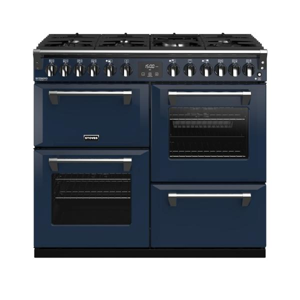 STOVES RICHMOND Deluxe S1000 DF Gas Midnight Blue/Chrom