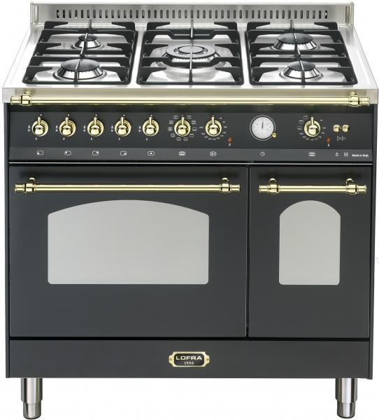 LOFRA - DOLCEVITA - DOUBLE OVEN 90 cm - RNMD 96 MFTE/ CI - Black - Messing Finish